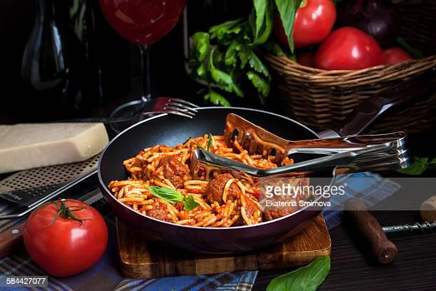 Meat ball spaghetti pasta