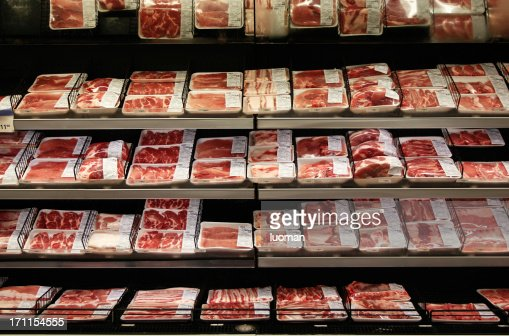 Meat department in a supermarket