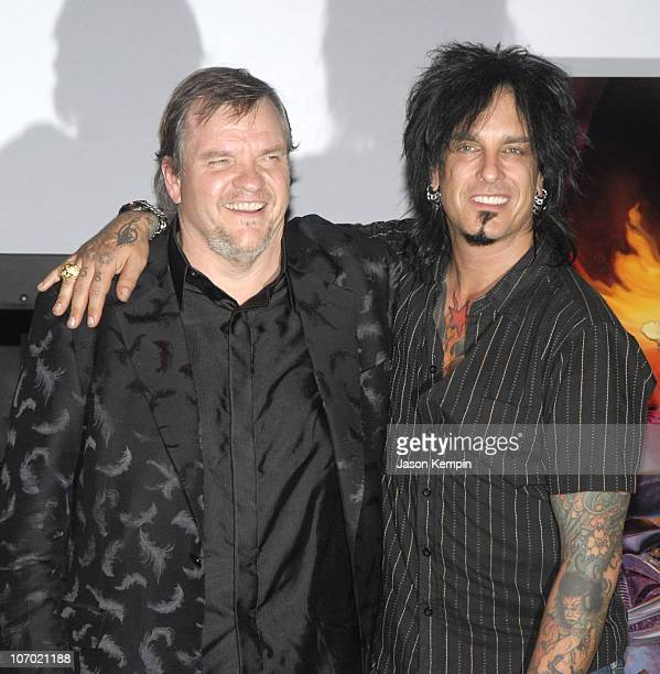 Meat Loaf and Nikki Sixx during Meat Loaf 'Bat Out of Hell III The Monster is Loose' Press Conference and Listening Party at Avalon in New York City...