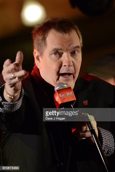Meat Loaf speaks to the crowd at the launch for Jim Steinman's 'Bat Out of Hell The Musical' at the London Coliseum on St Martin's Lane on November 3...