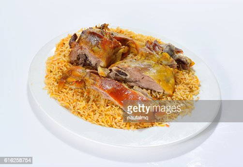Meat mandi traditional arabic rice food : Foto de stock