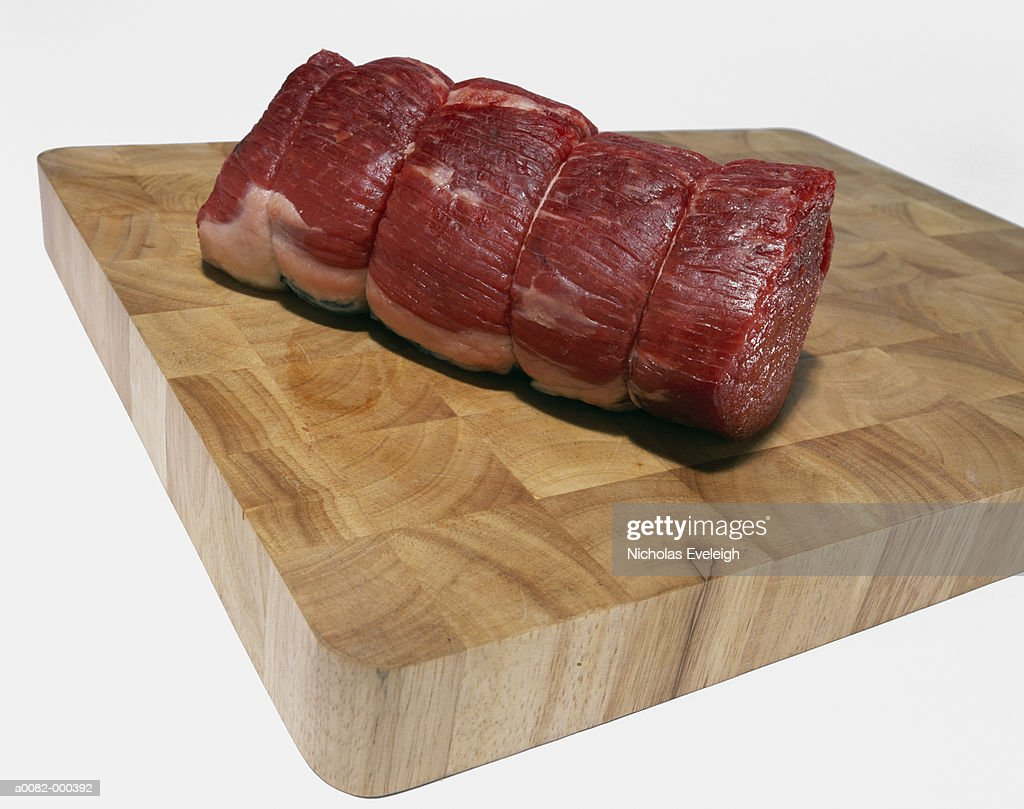 Meat on Wooden Cutting Board : Stock Photo