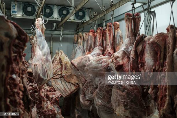 Meat products are seen in a cold storage room at a supermarket in Rio de Janeiro Brazil during an inspection by the state's consumer protection...