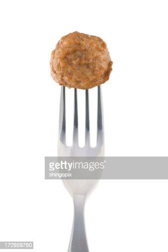 Meatball and fork