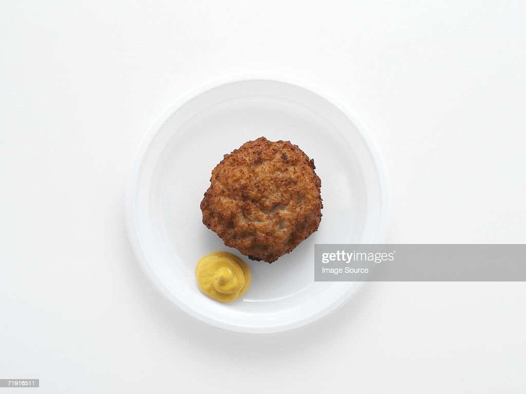 Meatball and mustard : Stock Photo