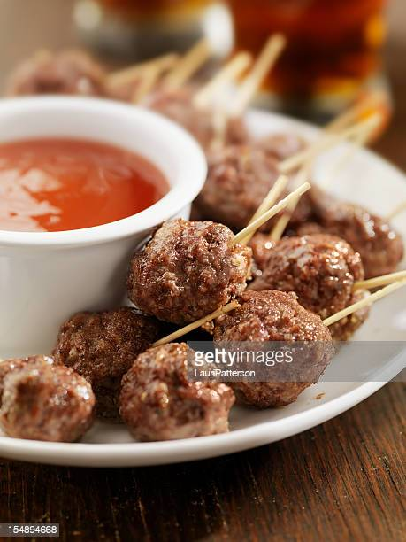 Meatball Appetizers with a Couple of Beers
