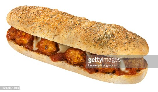 Meatball sub or sandwich isolated on white