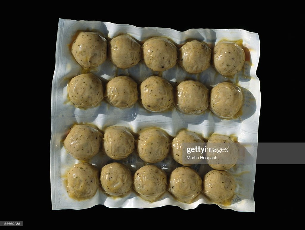 Meatballs in plastic packaging : Stock Photo