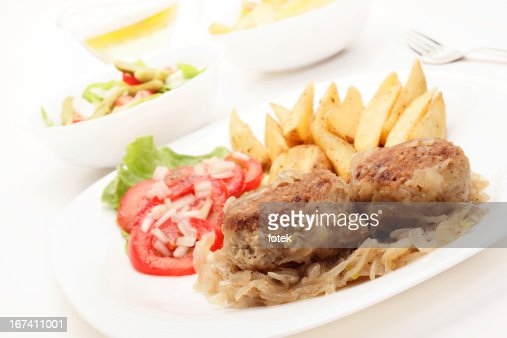 Meatballs with stewed onion : Stock Photo