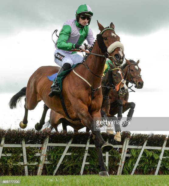 Meath Ireland 17 April 2017 Hidden Cyclone with Patrick Mullins up clear the second on the first time round during the Rathbarry Glenview Studs...