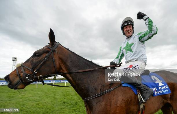 Meath Ireland 17 April 2017 Robbie Power celebrates after winning the Boylesports Irish Grand National Steeplechase on Our Duke during the Fairyhouse...