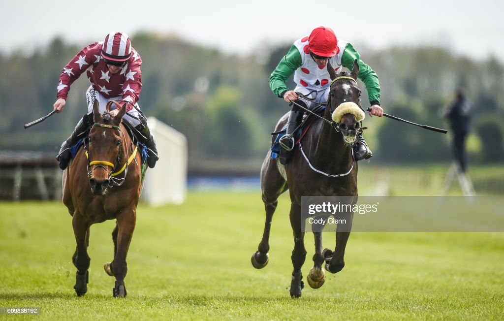 Meath , Ireland - 18 April 2017; Drumconnor Lad, right, with Davy Russell up, race ahead of Tamlough Boy, with Sean Flanagan up, to win the Lilly Bain Bathroom and Tiles Supporting Newry RFC Maiden Hurdle during the Fairyhouse Easter Festival at Fairyhouse Racecourse in Ratoath, Co Meath.