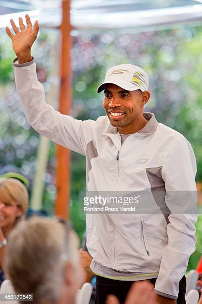 Meb Keflezighi defending champion of the Boston Marathon will be competing in the TD Beach to Beacon 10K seen at the press conference at the Inn by...