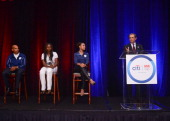 Meb Keflezighi Kari Miller Dominique Dawes and Vikram Pandit speak at an event to celebrate Citi's Team USA sponsorship and mark its 200th...