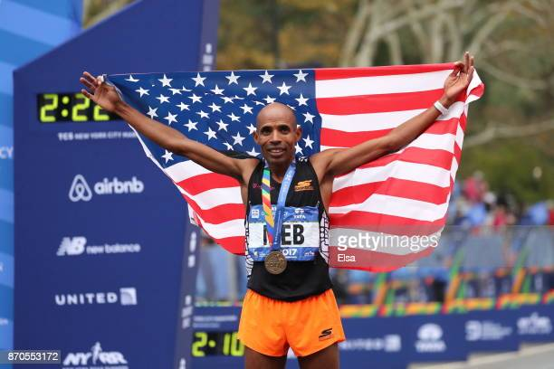 Meb Keflezighi of the United States celebrates finishing his last New York City Marathon during the Professional Men's Division during the 2017 TCS...