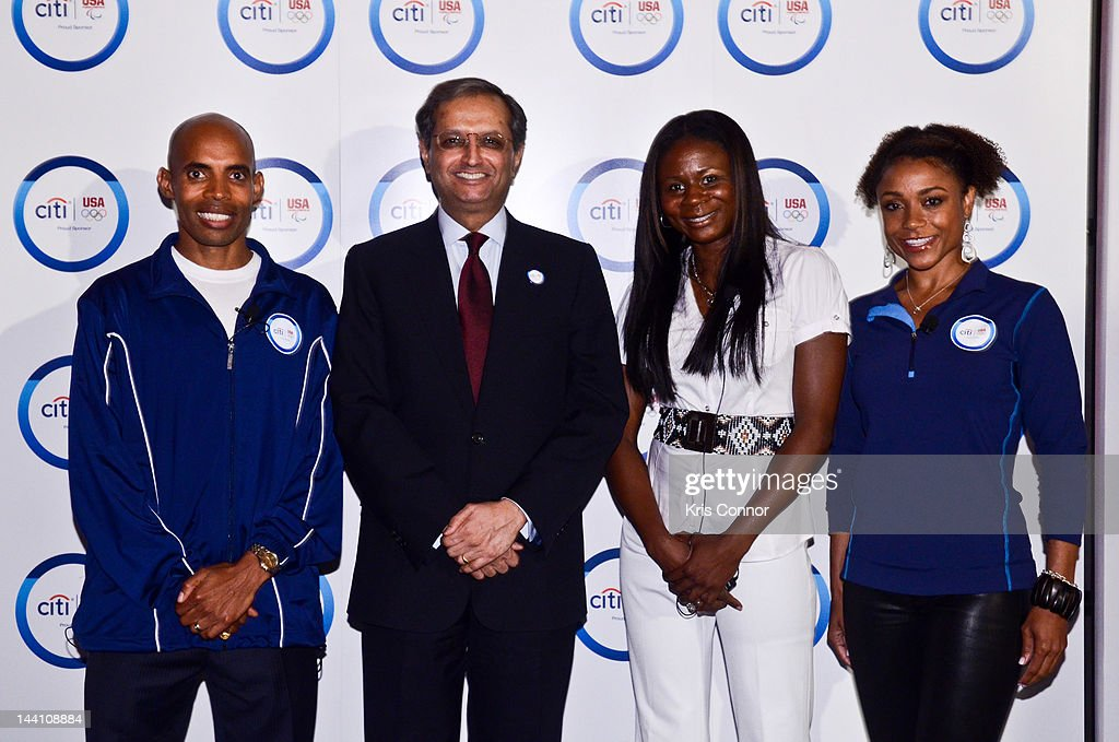 <a gi-track='captionPersonalityLinkClicked' href=/galleries/search?phrase=Meb+Keflezighi&family=editorial&specificpeople=225084 ng-click='$event.stopPropagation()'>Meb Keflezighi</a>, <a gi-track='captionPersonalityLinkClicked' href=/galleries/search?phrase=Vikram+Pandit&family=editorial&specificpeople=5610048 ng-click='$event.stopPropagation()'>Vikram Pandit</a>, Kari Miller and <a gi-track='captionPersonalityLinkClicked' href=/galleries/search?phrase=Dominique+Dawes&family=editorial&specificpeople=243099 ng-click='$event.stopPropagation()'>Dominique Dawes</a> pose for a photo at an event to celebrate Citi's Team USA sponsorship and mark its 200th anniversary at the Hyatt Regency Washington on Capitol Hill on May 9, 2012 in Washington, DC.