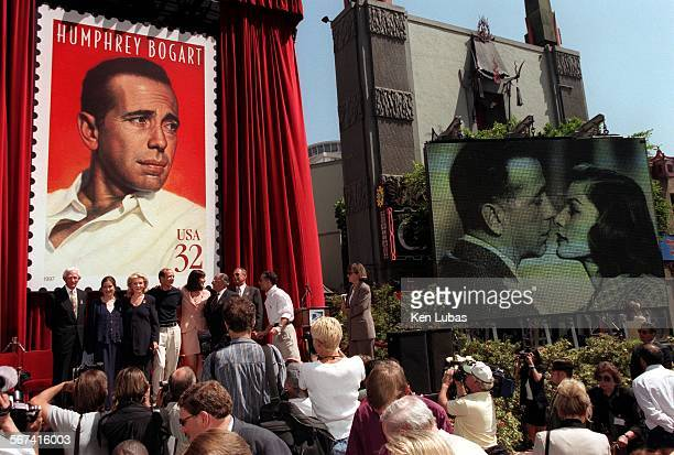 MEbogart2KL7/31––HOLLYWOOD––Actress Lauren Bacall third from left widow of Actor Humphrey Bogart is flanked by her daughter and son and a host of...