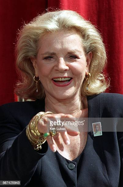 MEbogart5KL7/31––HOLLYWOOD––Actress Lauren Bacall widow of Actor Humphrey Bogart at ceremonies Thursday in Hollywood at which postage stamp featuring...