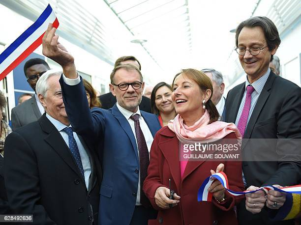 Mecafi CEO Sylvain Accorsini French Ecology Sustainable Development and Energy minister Segolene Royal and Safran Aicraft Engines president Olivier...