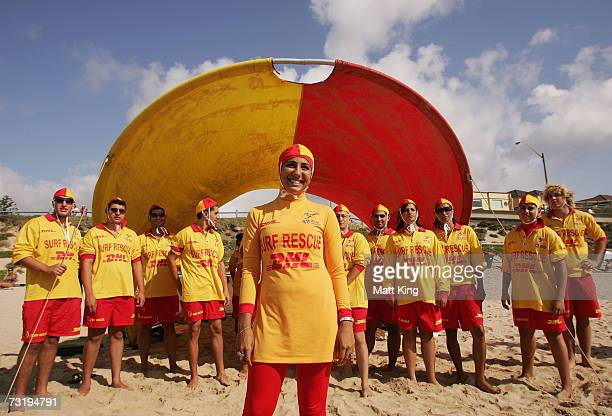 Mecca Laa Laa wears a 'Burqini' on her first surf lifesaving patrol at North Cronulla Beach February 4 2007 in Sydney Australia The red and yellow...