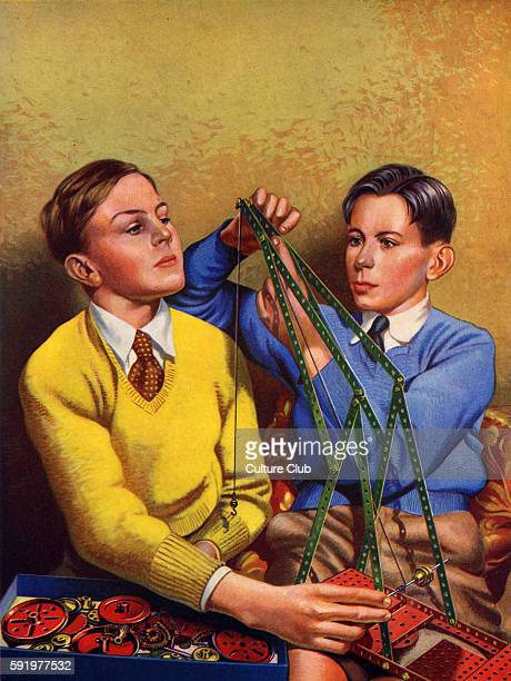 Meccano building set two schoolboys constructing a toy crane C 1938 Artist not known from The Wonder Book series
