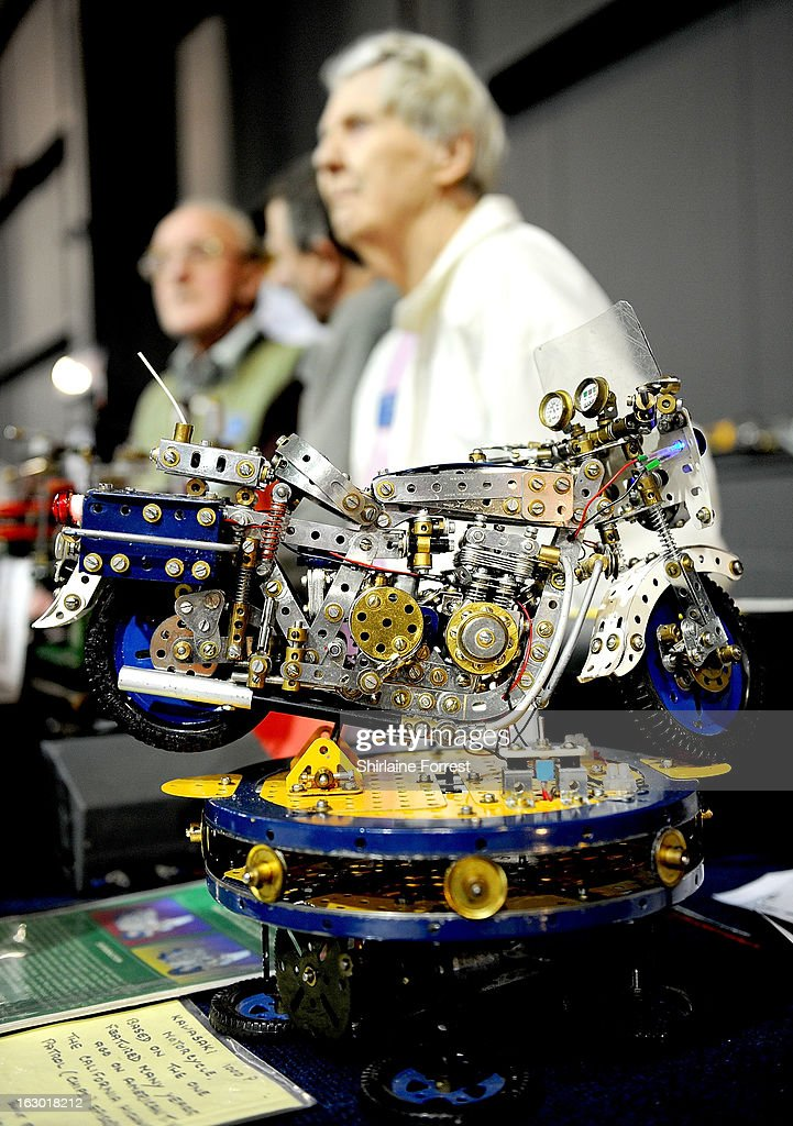 Meccano Kawasaki motorbike at the Northern Modelling Exhibition at EventCity on March 3, 2013 in Manchester, England.