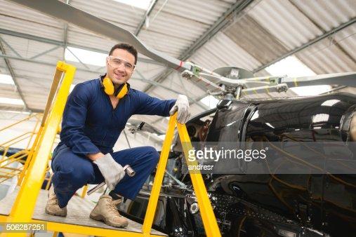 Mechanic fixing a chopper