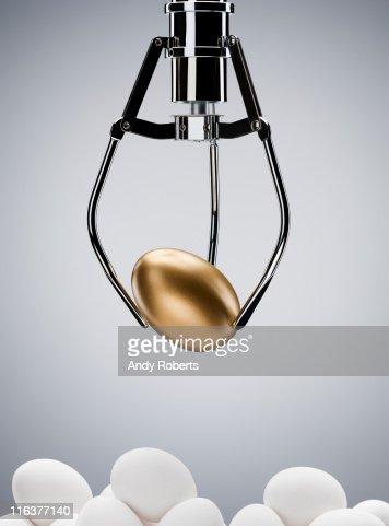 Mechanical claw lifting golden egg