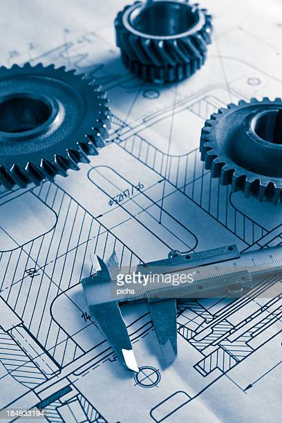 mechanical drawing and gearwheel
