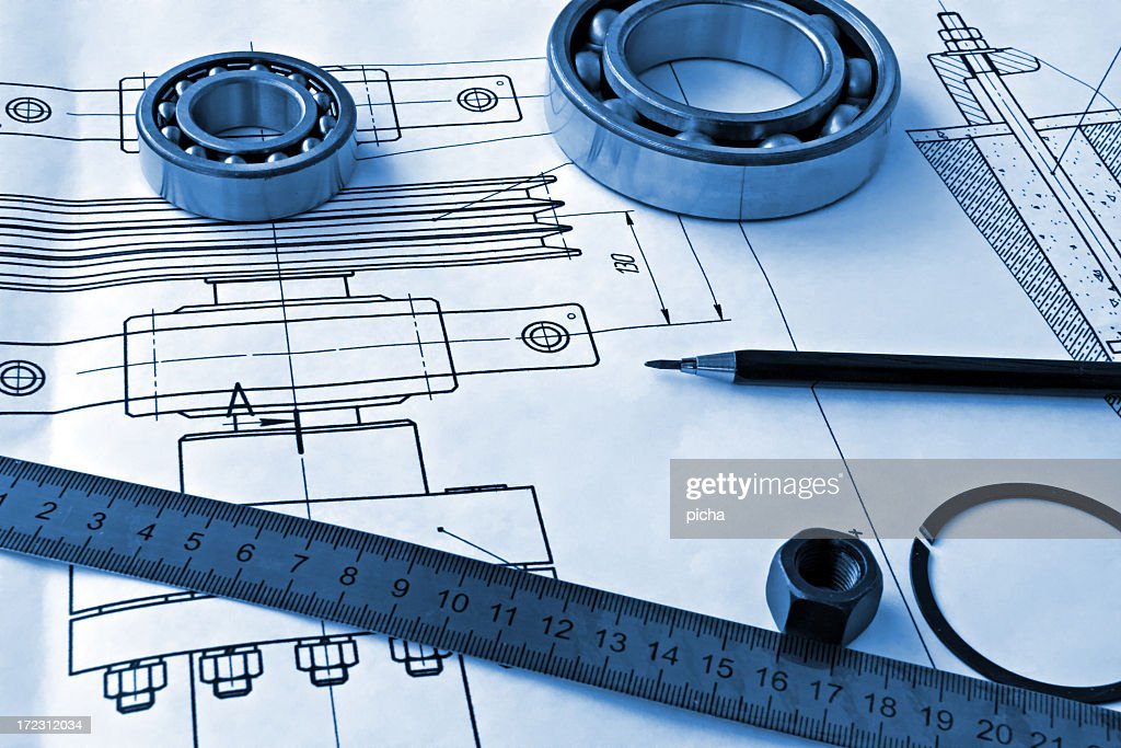 Mechanical drawings with a ruler and pencil
