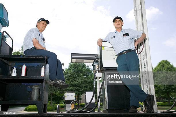 Mechanics at gas station