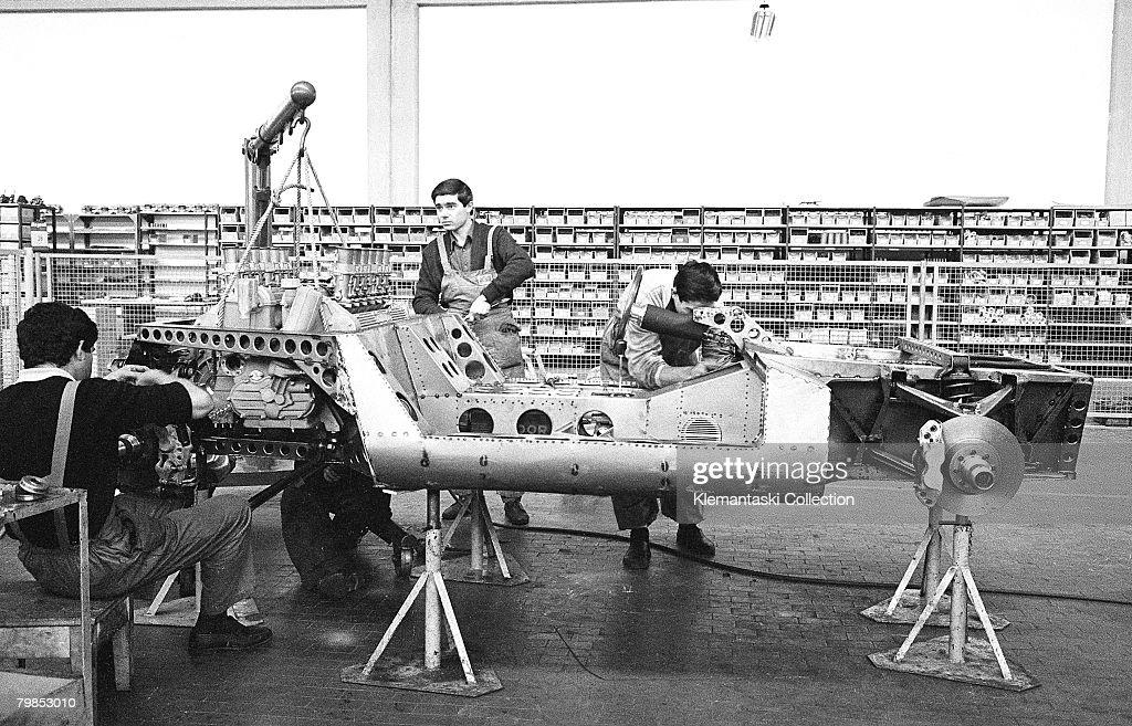 Mechanics building up the prototype P400 Miura at the Lamborghini Factory in Sant'Agata October 1965