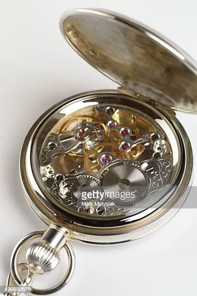 Mechanics of a clockwork pocket watch