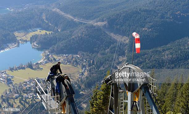 Mechanic's of the Herzogstand cable car inspect parts of the lift during the annual safety revision in front of the small village Walchensee southern...