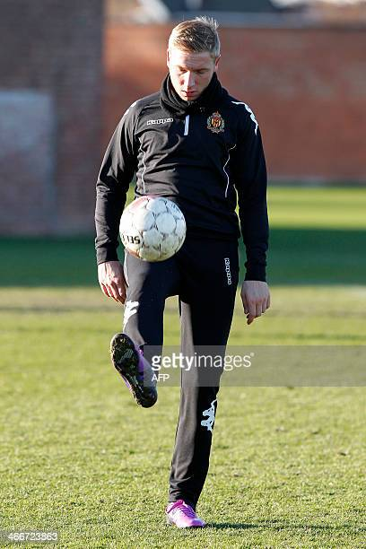 KV Mechelen football club's new recruit Belgian player Jonathan Legear juggles with the ball during a training session of his team in Mechelen on...
