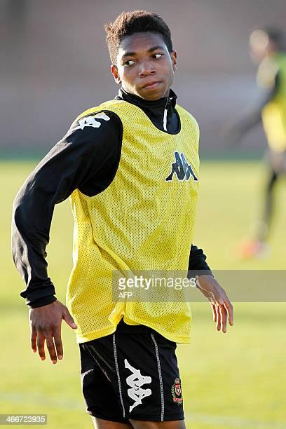 KV Mechelen football club's new recruit Belgian player Lamisha Musonda takes part in a training session of his team in Mechelen on February 3 2014...