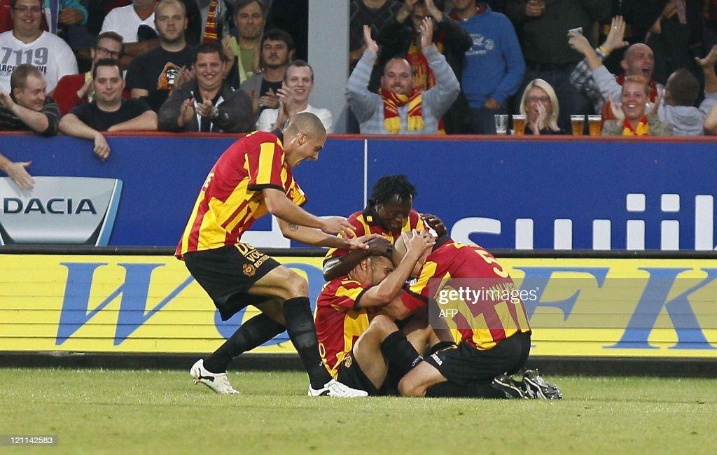 Mechelen's Alessandro Cordaro celebrates with team mates after scoring a goal during the Belgium Jupiler Pro League football match KV Mechelen vs...