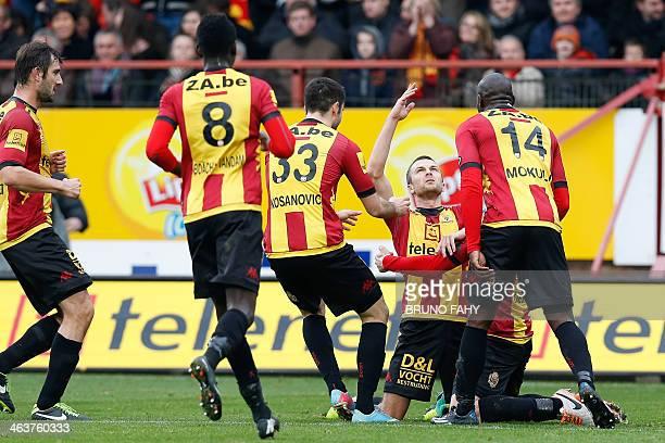 Mechelen's Steven De Petter celebrates after scoring during the Jupiler Pro League match between KV Mechelen and RSC Anderlecht in Mechelen on...