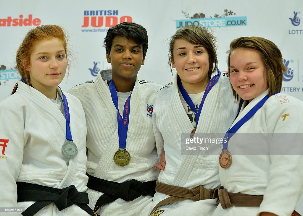 Medal ceremony for the Cadet Girls Under 63kgs: