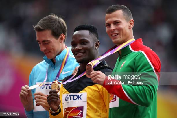 Medal ceremony for the Men's 110m Hurdles with Jamaica's Omar Mcleod Authorised Neutral Athlete Sergey Shubenkov and Hungary's Balazs Baji during day...