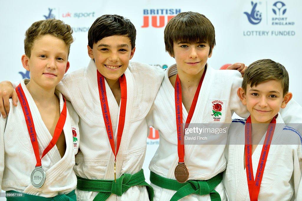 Medal ceremony for the Pre Cadet Boys Under 34kgs: