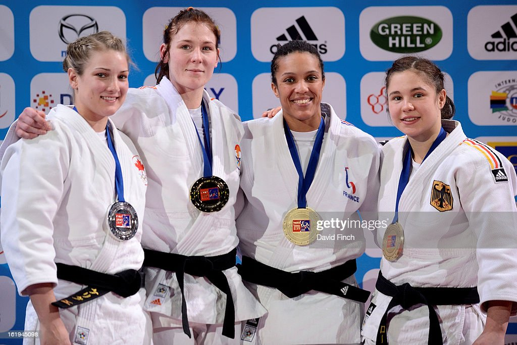 Medal ceremony for the u70kgs category (L-R) Silver: Kelita Zupancic CAN, Gold: Kim Polling NED, Bronzes: <a gi-track='captionPersonalityLinkClicked' href=/galleries/search?phrase=Lucie+Decosse&family=editorial&specificpeople=609740 ng-click='$event.stopPropagation()'>Lucie Decosse</a> FRA and Laura Vargas Koch GER during the Paris Grand Slam on day 2, Sunday, February 10, 2013 at the Palais Omnisports de Paris, Bercy, Paris, France.
