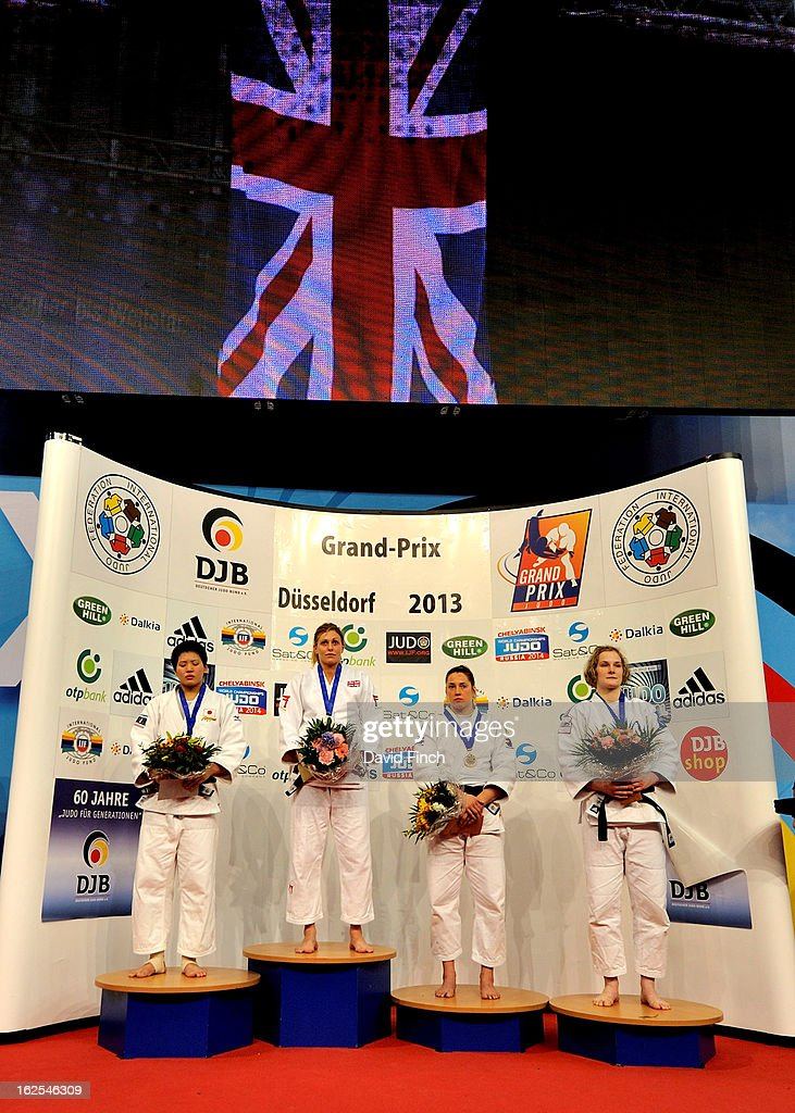 Medal ceremony for the u78kgs category (L-R): Silver: Ruika Sato of Japan, Gold: <a gi-track='captionPersonalityLinkClicked' href=/galleries/search?phrase=Gemma+Gibbons&family=editorial&specificpeople=7541729 ng-click='$event.stopPropagation()'>Gemma Gibbons</a> of Great Britain, Bronzes: Marhinde Verkerk of Holland and Lucie Louette of France during Day 2 of the Dusseldorf Grand Prix at the Mitsubishi Electric on February 24, 2013 in Halle, Dusseldorf, Germany.