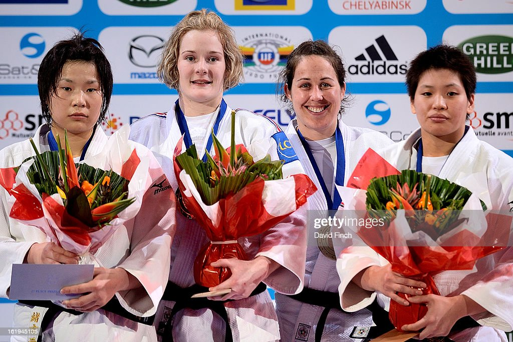 Medal ceremony for u78kgs category (L-R)