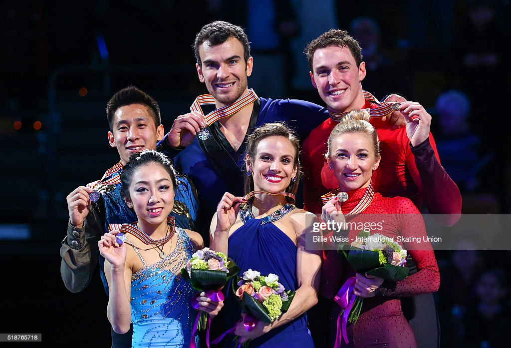 A medal ceremony is held for the pairs free skating final with gold medalists <a gi-track='captionPersonalityLinkClicked' href=/galleries/search?phrase=Meagan+Duhamel&family=editorial&specificpeople=2076875 ng-click='$event.stopPropagation()'>Meagan Duhamel</a> and <a gi-track='captionPersonalityLinkClicked' href=/galleries/search?phrase=Eric+Radford&family=editorial&specificpeople=5587908 ng-click='$event.stopPropagation()'>Eric Radford</a> of Canada, silver medalists Wenjing Sui and Cong Han of China, and bronze medalists <a gi-track='captionPersonalityLinkClicked' href=/galleries/search?phrase=Aliona+Savchenko&family=editorial&specificpeople=247200 ng-click='$event.stopPropagation()'>Aliona Savchenko</a> and <a gi-track='captionPersonalityLinkClicked' href=/galleries/search?phrase=Bruno+Massot&family=editorial&specificpeople=4691275 ng-click='$event.stopPropagation()'>Bruno Massot</a> of Germany, during Day 6 of the ISU World Figure Skating Championships 2016 at TD Garden on April 2, 2016 in Boston, Massachusetts.