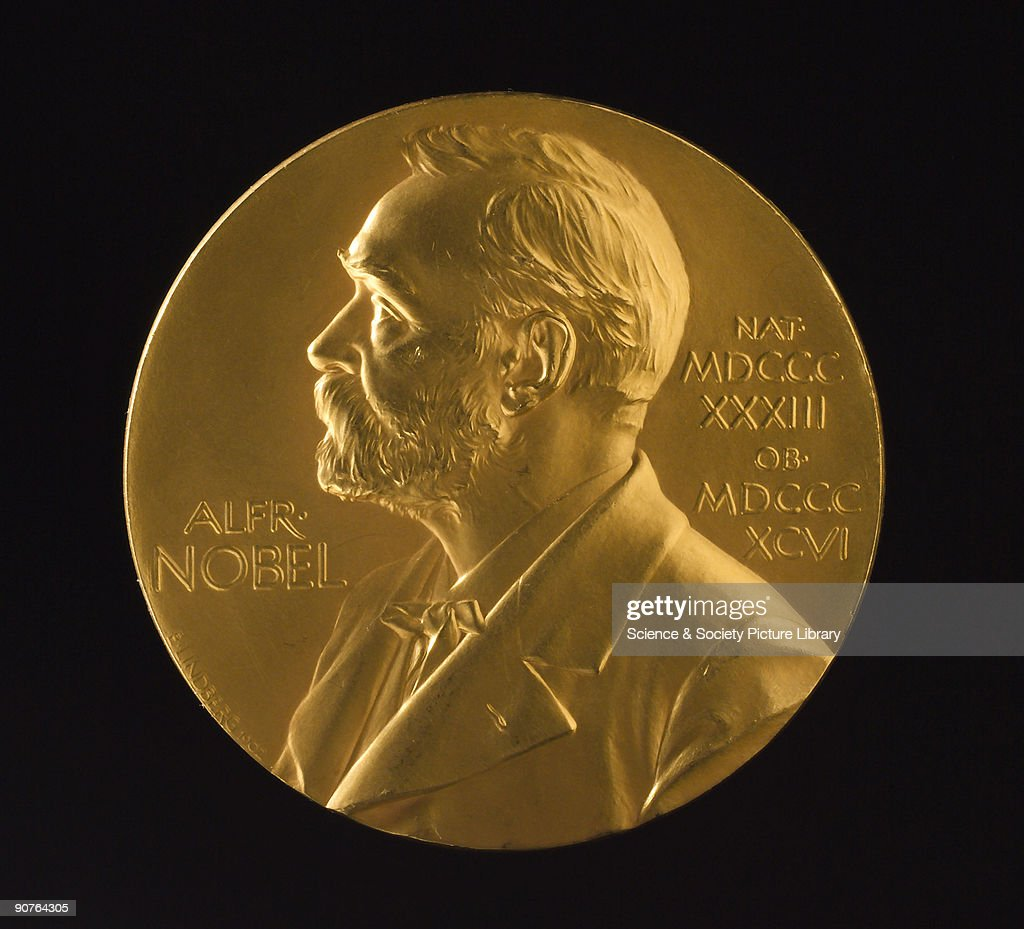 Medal for the Nobel Prize for Physics awarded to British physicist George Paget Thomson in 1937 The design shows a relief profile of Alfred Nobel...