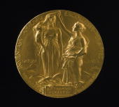 Medal for the Nobel Prize for Physics awarded to British physicist George Paget Thomson in 1937 The design shows the muses of nature and science and...