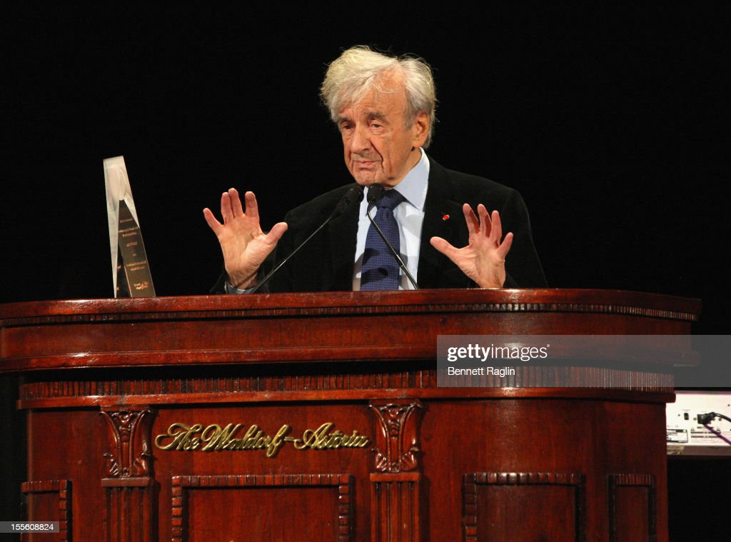 Medal of Distinction recipient Elie Wiesel speaks onstage at Lenox Hill Hospital's autumn ball on November 5, 2012 in New York City.