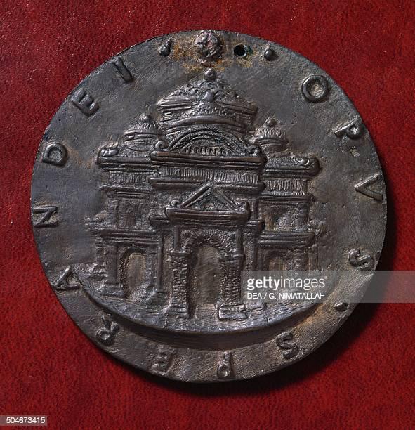 Medal of Francesco Sforza reverse with a Renaissance building designed by Sperandio of Mantua 15th century Florence Museo Nazionale Del Bargello