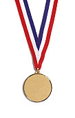 A medal on a striped ribbon, on a white background